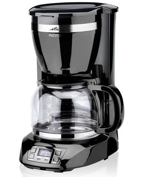 Kaffeemaschine INESTO Glas schwarz 12 Tassen Omega