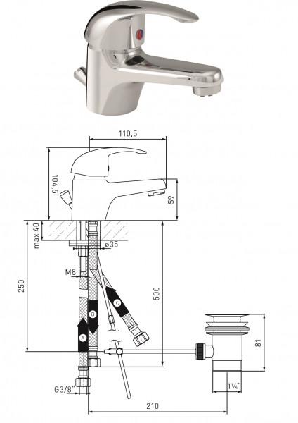 Waschtisch-Einhandmischer Niederdruck MS vc DN 15