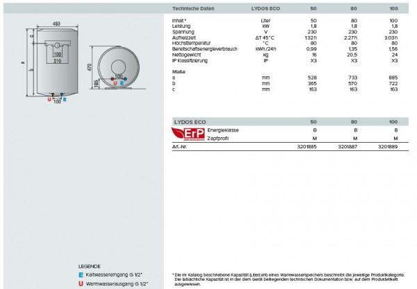 Heißwasserspeicher 80l ARISTON 3201887 LYDOS ECO EVO 80V