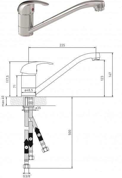Spültisch-Einhandmischer Niederdruck MS vc DN 15