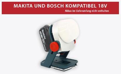 LED Arbeitsscheinwerfer 81-5300 20W mit makita und Bosch 18V kompatibel