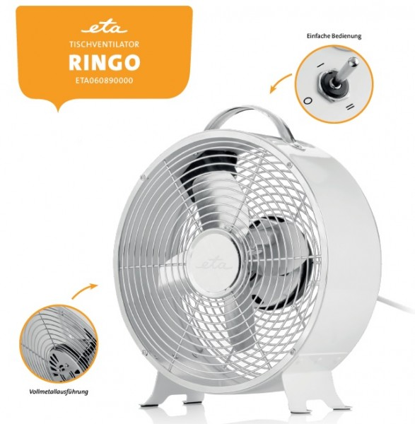 Tischventilator RINGO 0609 Omega/ETA Vollmetall-Retroausführung