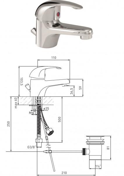 Waschtisch-Einhandmischer MS vc DN 15