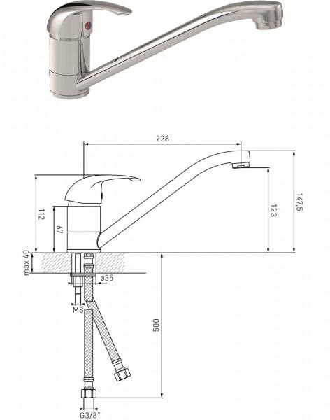 Spültisch-Einhandmischer 130181 MS vc DN 15 ASW
